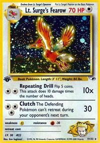 Lt. Surges Fearow - 7/132 - Holo Rare - 1st Edition