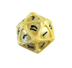 PolyHero - 1d20 Orb - Parchment with Black Ink