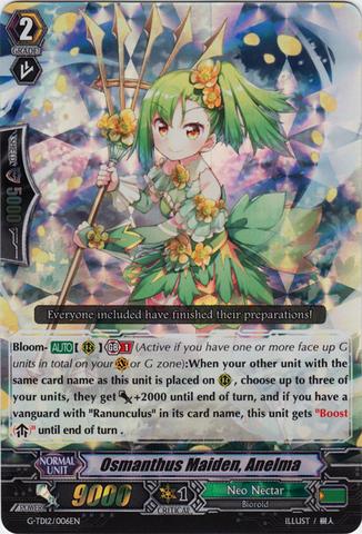 Gol Ahsha SP Cardfight Vanguard  x 1 Ranunculus Flower Maiden G-TD12//003EN