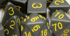Opaque Dark Gray with Gold Numbers - Set of 15