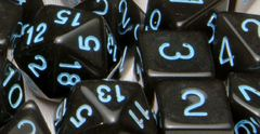 Translucent Black (Smoke) with Lt Blue Numbers - Set of 7