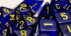 Translucent Dark Blue with Gold Numbers - Set of 15