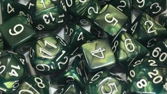 Emerald Dragon Shimmer with White Numbers - d%
