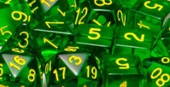 Set Of 15 Dice: Translucent Dark Green W/Gold
