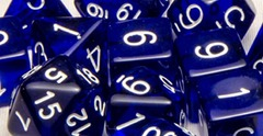 Set Of 7 Dice: Translucent Dark Blue W/White