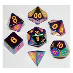 7 Count Dice Metal Set: Flame Torched Rainbow