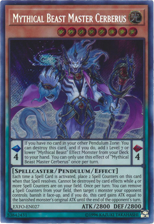 Mythical Beast Master Cerberus - EXFO-EN027 - Secret Rare - Unlimited Edition