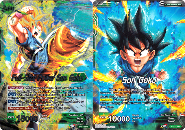 Full-Size Power Son Goku Dragon Ball Super Draft Box 03 Leader Card P-072 PR