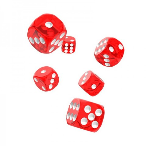 Oakie Doakie Dice - D6 Translucent Red 16mm Set of 12  (ODD410009)