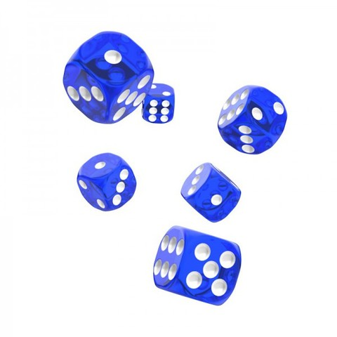 Oakie Doakie Dice - D6 Translucent Blue 16mm Set of 12 (ODD410011)