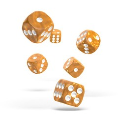 Oakie Doakie Dice - D6 Marble Orange 16mm Set of 12