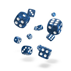 Oakie Doakie Dice - D6 Marble Blue 12mm Set of 36