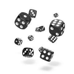 Oakie Doakie Dice - D6 Marble Black 12mm Set of 36
