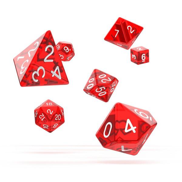 Oakie Doakie Dice - RPG-Set Translucent Red