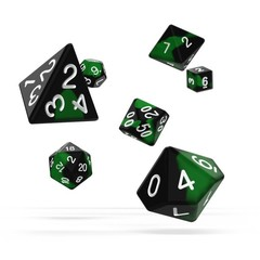 Oakie Doakie Dice - RPG-Set Glow in the Dark Biohazard