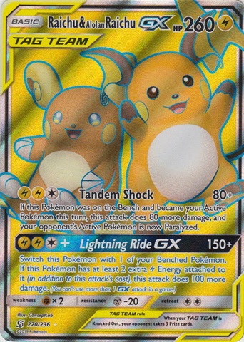 Raichu & Alolan Raichu Tag Team GX - 220/236 - Full Art Ultra Rare