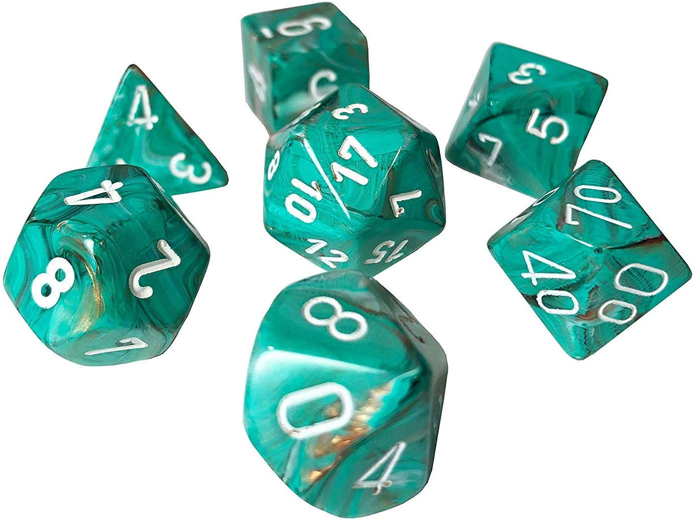Chessex 27403 - Marble - Polyhedral 7 Die Set - Oxi-Copper/white