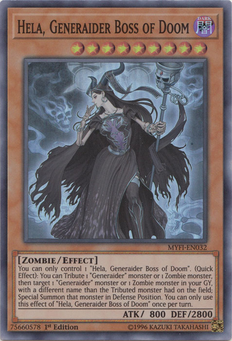 Hela, Generaider Boss of Doom - MYFI-EN032 - Super Rare - 1st Edition