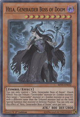 Hela, Generaider Boss of Doom - MYFI-EN032 - Super Rare - 1st Edition on Channel Fireball