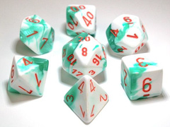 Chessex Lab Dice 7-Die Set: Gemini Mint Green-White/Orange - CHX30020