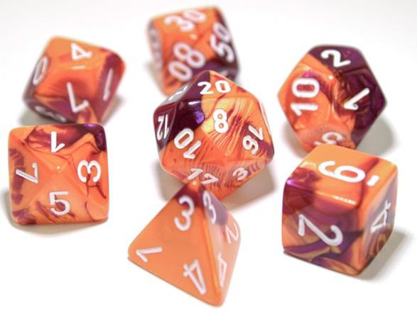 Chessex Lab Dice 7-Die Set: Gemini Orange-Purple/White - CHX30021