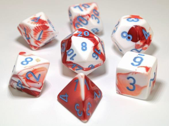 Chessex Lab Dice 7-Die Set: Gemini Red-White/Blue - CHX30022