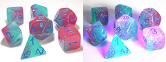Chessex Lab Dice 7-Die Set: Gemini Gel Green-Pink/Blue with Luminary - CHX30023