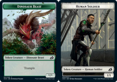 Dinosaur Beast Token // Human Soldier Token (004) - Foil