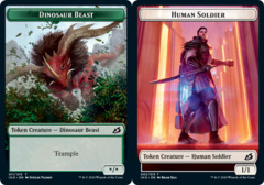 Dinosaur Beast Token // Human Soldier Token (005) - Foil
