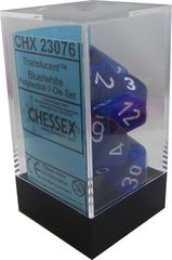 23076 Translucent Blue/white 7ct Polyhedral Dice Set