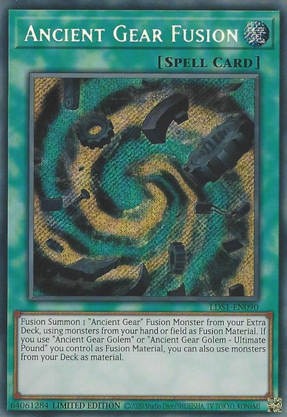 Ancient Gear Fusion - LDS1-EN090 - Secret Rare - Limited Edition