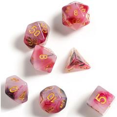 Dice Set - Marble Pink Black & Red