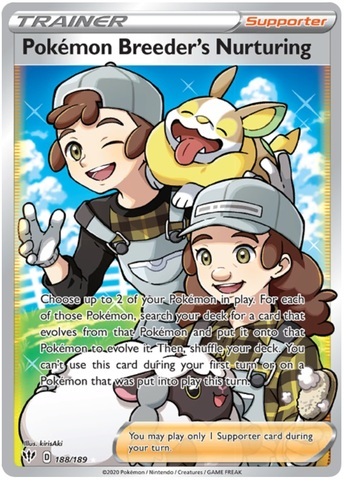Pokemon Breeder's Nurturing - 188/189 - Full Art Ultra Rare