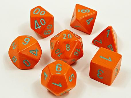 Chessex 30038 - Heavy - Polyhedral 7 Die Set - Orange/turquoise - Lab Dice