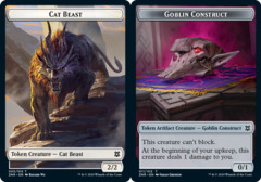 Cat Beast // Goblin Construct Double-sided Token - Foil