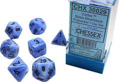 7 Heavy Dice Set - Lab Dice 2 - Snow Blue Vortex Dice with Black Numbers - CHX30029