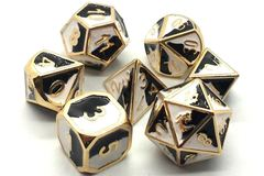 Old School RPG Dice Set: Dragon Forged - Black & White w/ Gold