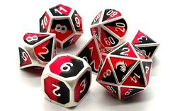 Old School RPG Dice Set: Dragon Forged - Platinum Black & Red