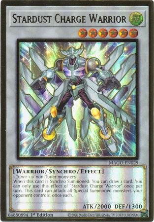 Stardust Charge Warrior - MAGO-EN029 - Premium Gold Rare - 1st Edition