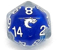 Old School D20 DnD RPG Die: Liquid Infused - Metallic Blue