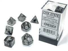 Borealis Polyhedral - Light Smoke with Silver  7-dice - CHX27578