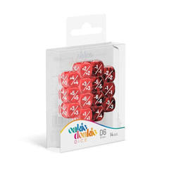 Oakie Doakie Dice - D6 Marble/Gemidice Positive And Negative - Red 12mm Set of 14