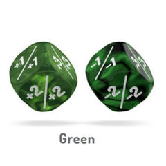 Oakie Doakie Dice - D6 Marble/Gemidice Positive And Negative - Green 12mm Set of 14