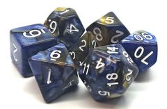 Old School 7 Piece DnD RPG Dice Set: Vorpal - Blue & Gold