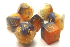 Old School 7 Piece DnD RPG Dice Set: Galaxy - Black, Orange & Ivory