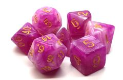 Old School 7 Piece DnD RPG Dice Set: Galaxy - First Kiss