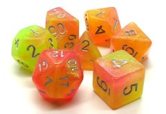 Old School 7 Piece DnD RPG Dice Set: Galaxy - Sunburst