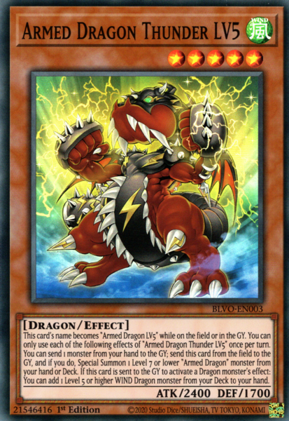 Armed Dragon Thunder LV5 - BLVO-EN003 - Super Rare - 1st Edition