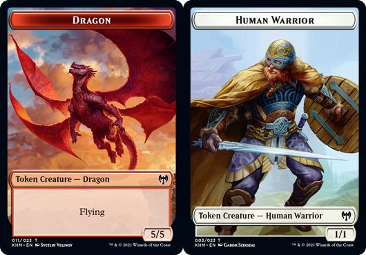 Dragon Token // Human Warrior Token - Foil