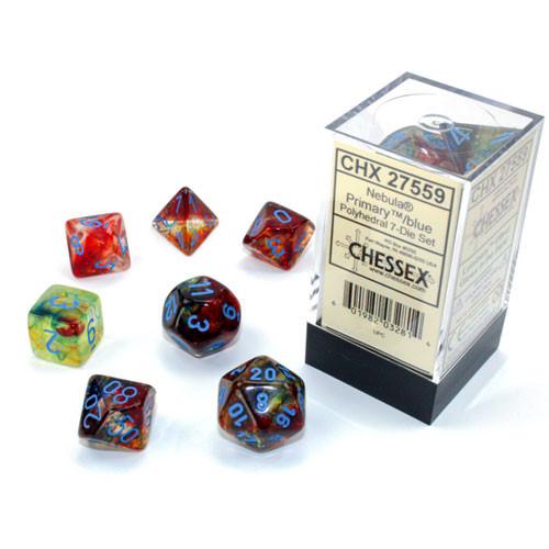 7 Primary w/Blue Nebula Luminary Polyhedral Dice Set - CHX27559